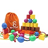 JUMBO PRIMARY STRINGING BEAD SET by SHAWE with 30 Lacing Beads for Toddlers and Babies. Includes 4 Strings, Carrying Nice Tote & Busy Bag - Montessori Toys for Fine Motor Skills Autism OT- A Great Toy for Both Boys & Girls Ages 2+