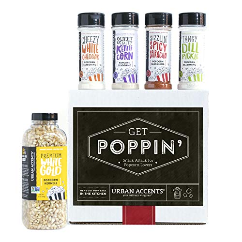 Urban Accents GET POPPIN', Gourmet Popcorn Seasoning Gift Set (Set of 5) - Delicious Non-GMO Popcorn Kernels and 4 Gourmet Popcorn & Snack Mix Seasonings- Perfect Gift for Any Occasion -