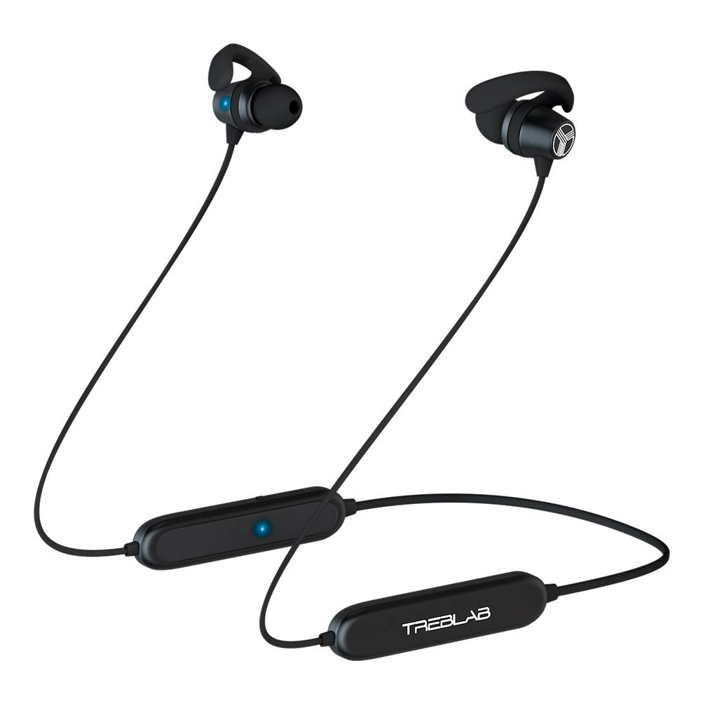TREBLAB N8 – Magnetic Neckband Wireless Running Earphones Sports - Lightweight, IPX5 Waterproof Earbuds, Noise Canceling Wireless Headphone Bluetooth 5 with Mic for Gym Workout. Sports Headphones 2019