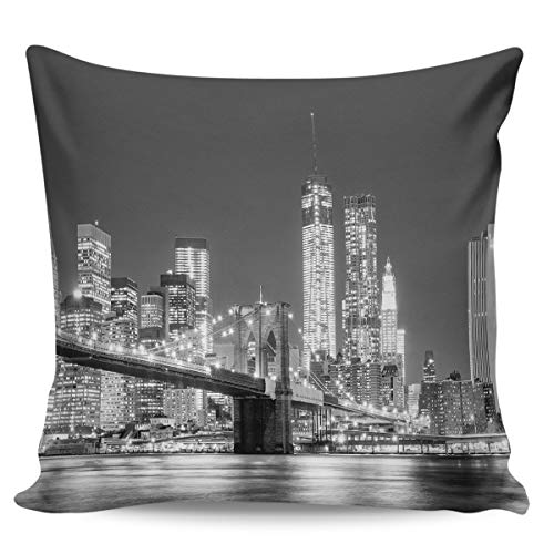 Queen Area Square Pillowcases for Mens Women Girls Boys Luxury Soft Throw Cushion Cover Pillow Sham for Living Room Sofa Bedroom Couch & Bed Black and White City Bridge at Night 26