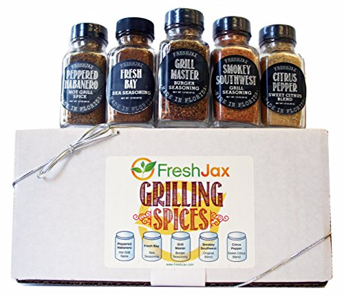 #1 Selling Grilling Spice Gift Set - FreshJax Set of 5 - Glass Bottles Gift Box - Clean & Pure Organic Ingredients - Healthy Eating