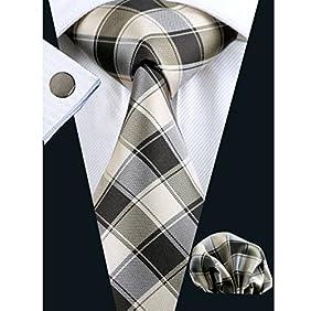 Hi-Tie Mens Classic Plaid Necktie Set include Hanky Cufflinks