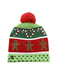 Alapaste LED Light Up Hat Beanie Knit Cap Sweater Holiday Christmas Beanie Winter Holiday Hat Unisex Colorful Lights Flashing Cap Gift for Children Kids