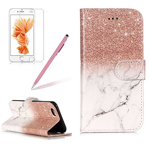 Case for iPhone 6 Plus,Girlyard Colorful Printing Painting Premium PU Leather+TPU Inner Book Style Magnetic Closure Flip Stand Feature with Screen Protector for iPhone 6S Plus-Marble Rose Gold