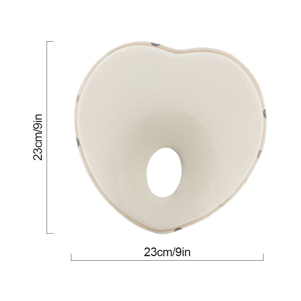 DKY Newborn/Infant Head shapping Pillow,Memory Foam Cushion for Flat Head Syndrome Prevention | Prevent Plagiocephaly | Best for Newborn Boy&Girl - Beige