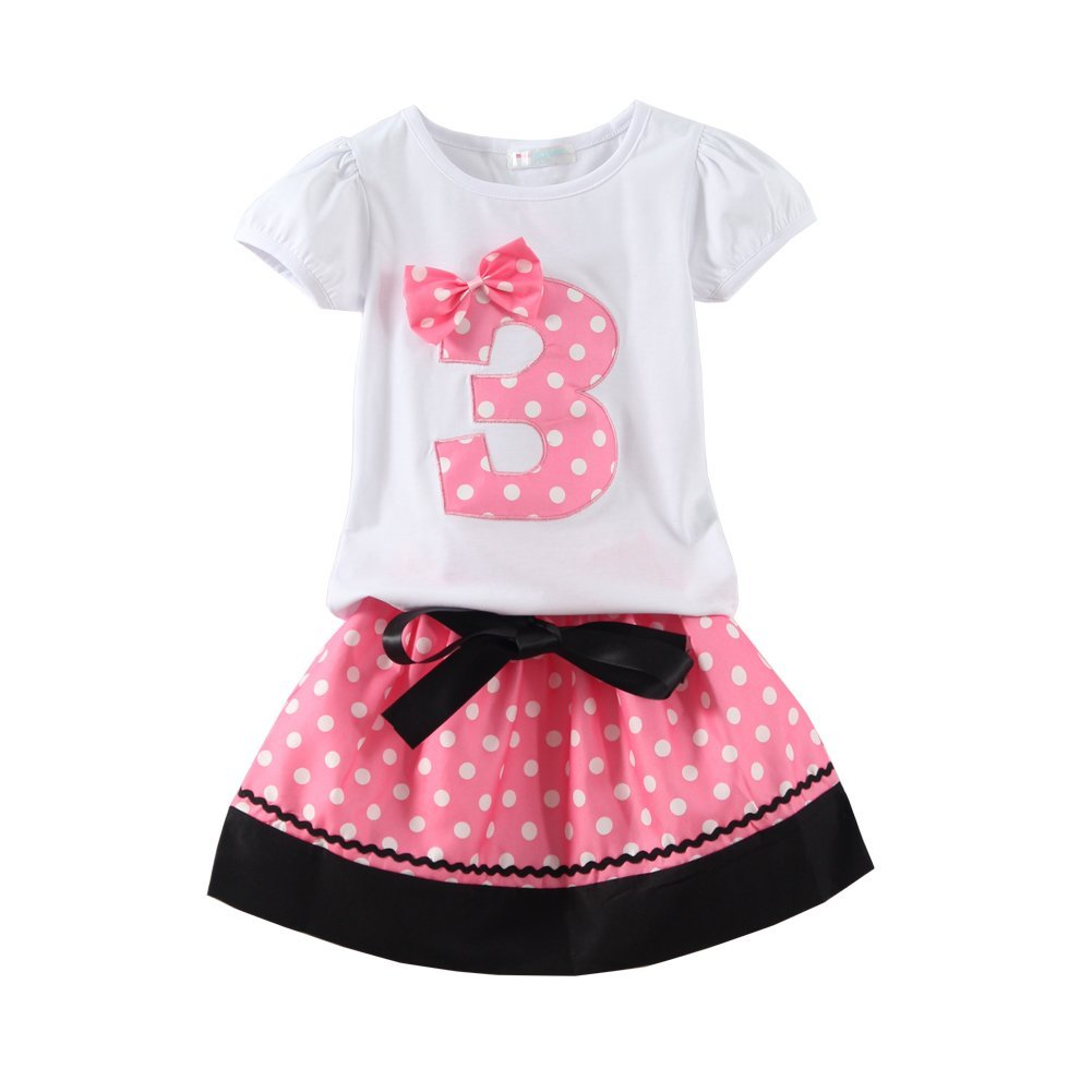 Mud Kingdom Little Girls Birthday Outfits I Am 3 Years Clothes Skirt Sets Pink 3T