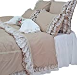 Queen's House White Lace Cotton Duvet Cover Bedding Set Queen Size