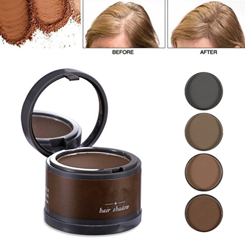 Magical Fluffy Thin Hair Powder Hair Line Shadow Makeup Hair Concealer Root Cover Up Instant Gray Coverage 4g (01 brown) (Color Shadow Gray)