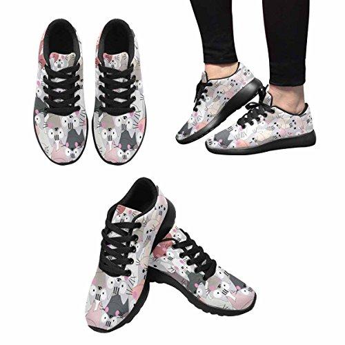 Interestprint Mujeres Trail Correr Zapatos Jogging Ligero Deportes Caminar Athletic Sneakers Lindo Bebé Gato Rosa Gris Pastel, Gatito Precioso Gatito Dibujos Animados Multi 1