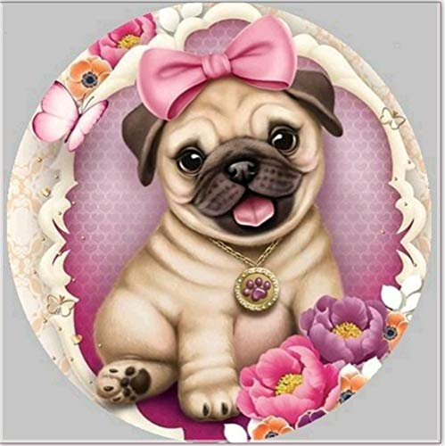 YEESAM ART New Paint with Diamonds, Diamond Painting Full Drill 5D Kits - Pug Dog Flowers Butterfly 30x30 - DIY Crystals Rhinestone Painting Pasted Paint by Numbers Kits (Pug, 30x30)