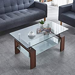 Living Room Paddie Glass Coffee Table Rectangle Modern with Lower Shelf for Living Room Home Office (Walnut) modern coffee tables