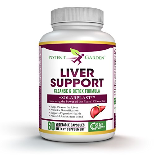 Liver Detox by Potent Garden – Support & Cleanse Supplement – Natural Non-GMO Herbal Blend with Milk Thistle, Artichoke, Dandelion & Proteolytic Enzymes - & Solarplast to Help Digest Proteins & (Milk Free Garden)