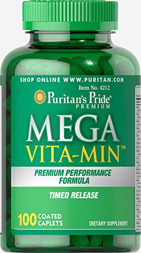 Mega Mins Iron - Puritan's Pride Mega Vita-Min Multivitamin Timed Release-100 Caplets