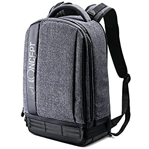 K&F Concept Professional Camera Backpack Large Size Photography Bag for Canon Nikon Sony DSLR, 13.3'' Laptop,Tripod (Grey)
