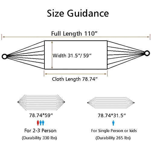 Nochim Portable Canvas Hammock Single/Double Cotton Fabric Outdoor Snap Hanging Hammock Lightweight Soft Leisure Bed for 2 Person by Nochim (Image #8)