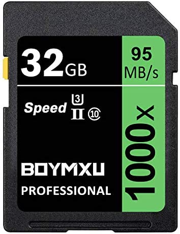 32GB Memory Card, BOYMXU Professional 1000 x Class 10 Card U3 Memory Card Compatible Computer Cameras and Camcorders, Camera Card Memory Card Up to 95MB/s, Green/Black