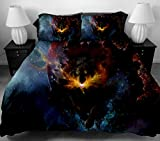 ANOLE 3 Pcs Soft Luxury Youth 100% Polyester Shell Fully Reversible 3-Piece Modern 3D WOLF Print Duvet Cover Set Twin Size Full Size Queen Size King Size Blue for Girls,Boys, Kids No Comforter (Full)