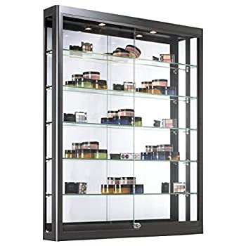 Displays2go Wall Mounted Showcases with Glass Shelving, Aluminum Construction, Sliding Glass Doors, Locking Design – Black (WC3946LEDB)