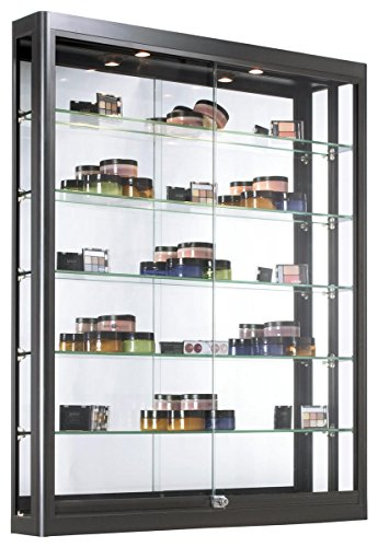 Displays2go Wall Mounted Showcases with Glass Shelving, Aluminum Construction, Sliding Glass Doors, Locking Design – Black (WC3946LEDB) by Displays2go