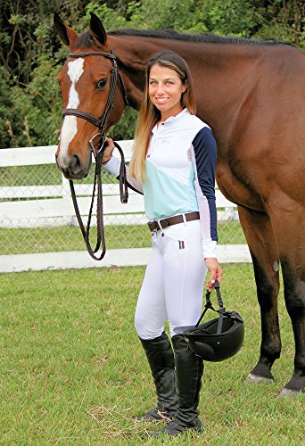 Equine Couture Ladies Sawyer Show Shirt (White/Blue Glass, XS)