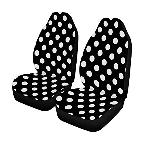 INTERESTPRINT Custom Black&White Polka Dot Car Seat Covers for Front of 2,Vehicle Seat Protector Fit Most Car,Truck,SUV,Van
