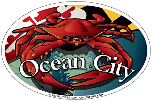 Ocean City Maryland Red Crab Oval Bumper Sticker, 6 x 4 inches, Made in USA
