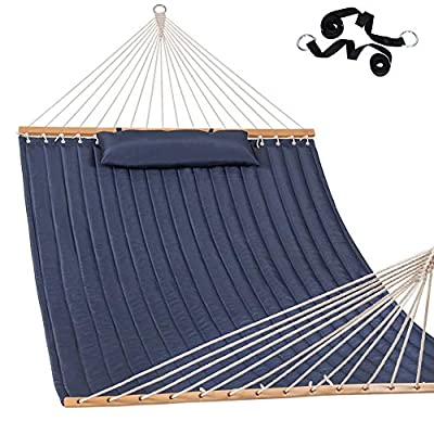 Lazy Daze Hammocks Quilted Fabric Hammock with Pillow for Two Person Double Size Spreader Bar Heavy Duty Stylish, Navy Blue - The double-layered quilted polyester with inner polyester padding and a polyethylene stuffing head pillow offer superior comfort. Handcrafted polyester ropes add character and authenticity, thickness of the end cords, and perfect connection of steel chain and O-ring contribute greatly to the balance and strength of the hammock. 55 inches durable Hardwood spreader bar with powder coated in an oil rubbed finish, making it more stable and stylish as well as maximizing style. - patio-furniture, patio, hammocks - 51G96zhQljL. SS400  -