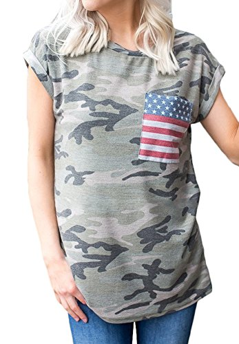 SIXHAVY Camo Tops Loose T Shirts for Women Short Sleeve Shirts with Front Pockets M