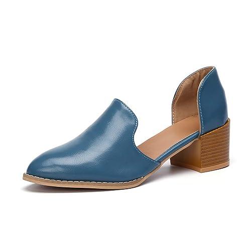 Zapatos de Vestir Mujer Cuero Puntiagudo Transpirable Casual Fiesta Sandalias Mocasines Verano Wingtip Calzado Tacón 5.5cm Negro Azul 35-43: Amazon.es: ...