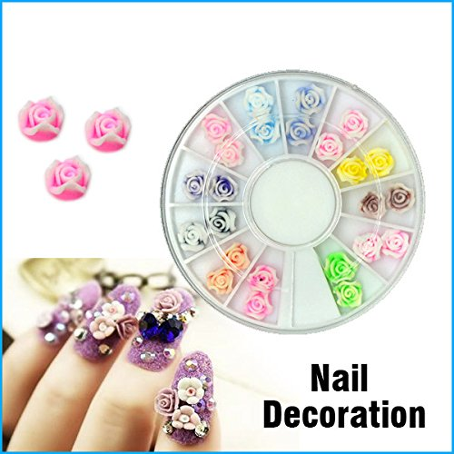 China Clay Suppliers (BuyerKit(TM) Promotion 24PCS Polymer Clay with Rose Design 3D Nail Art Decoration Soft Rubber Flower 12 Colors)