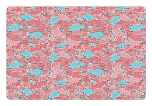 Lunarable Mollusk Pet Mat for Food and Water, Uninterrupted Clam Scallops Algae Moss Underwater Illustration Print, Non…