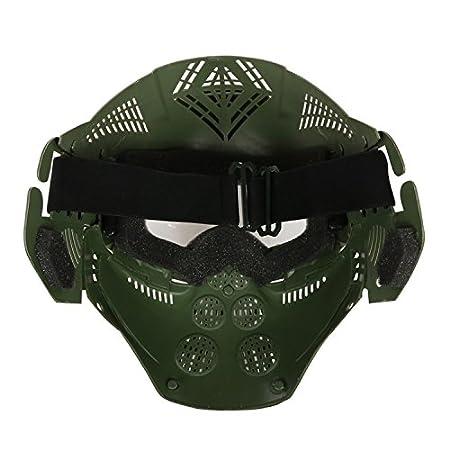 haoyk táctico militar de Airsoft de la cara llena máscara protectora transparente protección Paintball Halloween disfraz, OD verde: Amazon.es: Deportes y ...