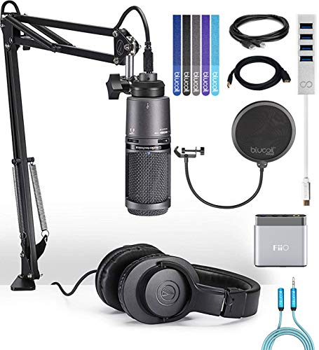 Audio-Technica AT2020USB+PK Streaming Pack Bundle with FiiO A1 Portable Headphone Amp, Blucoil Type-C Hub, 10-FT Type-A to Type-A USB 2.0 Cable, Pop Filter, 6' 3.5mm Extension Cable, and 5x Cable - Pk Amp