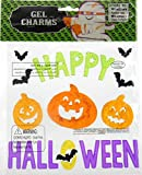 Colorful and Glittering Happy Halloween Window Gel Cling with 3 Smiling Jack O Lanterns and Bats