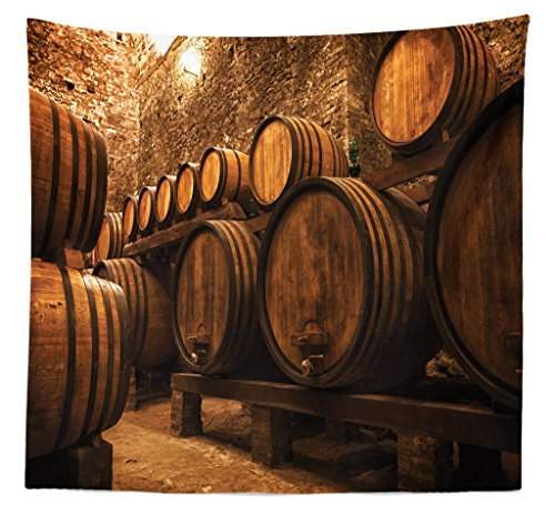 Lunarable Winery Tapestry Queen Size, Barrels Storage Wine Italy Oak Container in Cold Dark Underground Cellar, Wall Hanging Bedspread Bed Cover Wall Decor, 88 W X 88 L Inches, Brown Apricot