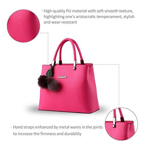 Nicole&Doris nueva bolsa de bolas de pelo de sexo femenino de Corea del hombro bolsa de mensajero colgantes(Red) Rose