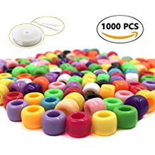R.FLOWER 1000PCS Multicolor Bright Beads Plastic Craft Pony Beads 6x9mm for Jewelry Making Kids DIY Bracelets Necklaces