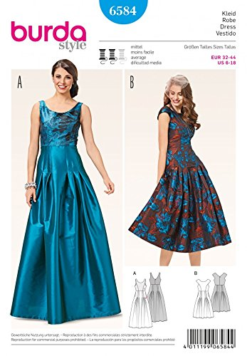 Burda Ladies Sewing Pattern 6584 Evening Dresses With Pleated Skirt