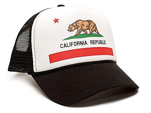 Custom California Republic State Flag Cali Unisex-Adult Trucker Hat Multi (Black/White)