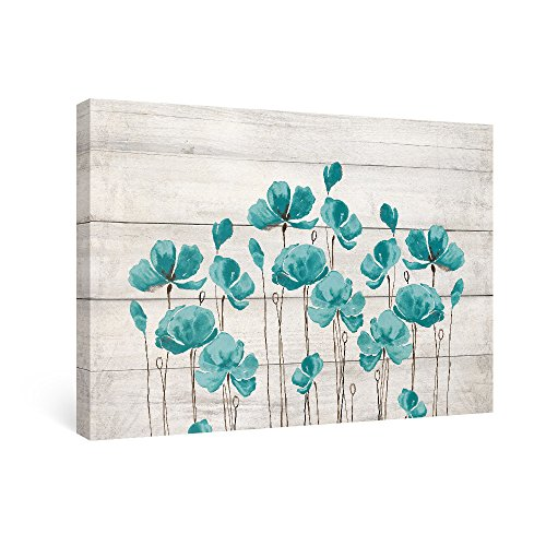 SUMGAR Wall Art for Bedroom Turquoise Flowers Paintings on Canvas Still Life Art Prints Framed Artwork for Home Decor, 16x24in by SUMGAR