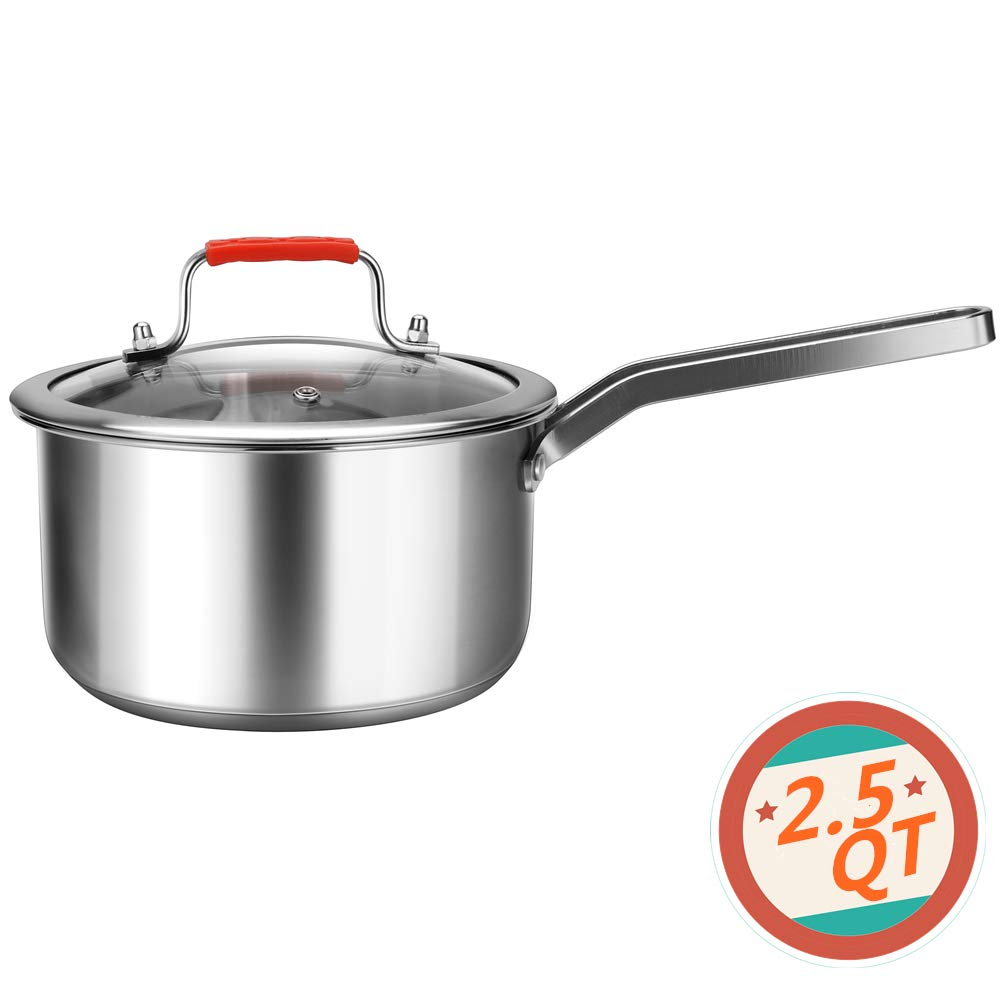 Regiller Stainless Steel Sauce Pan with Glass Lid 2.5 Quart Small Sauce Pot Dishwasher Safe for Home Kitchen Restaurant Cooking by Regiller