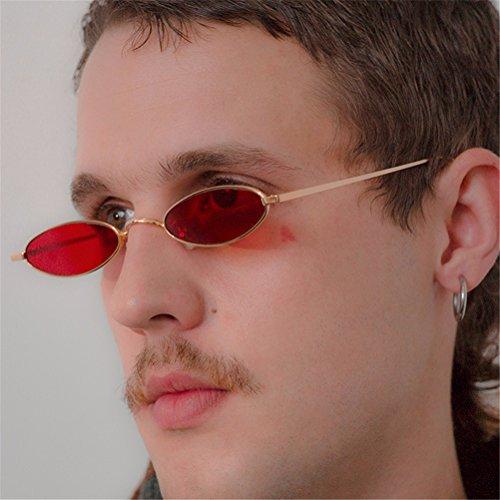 Gafas Gris sol Nuevo Moda Gafas Oval el Lente Metal Guay de HD hombre Marcos Para 2018 Oro Casual HwC4vwq