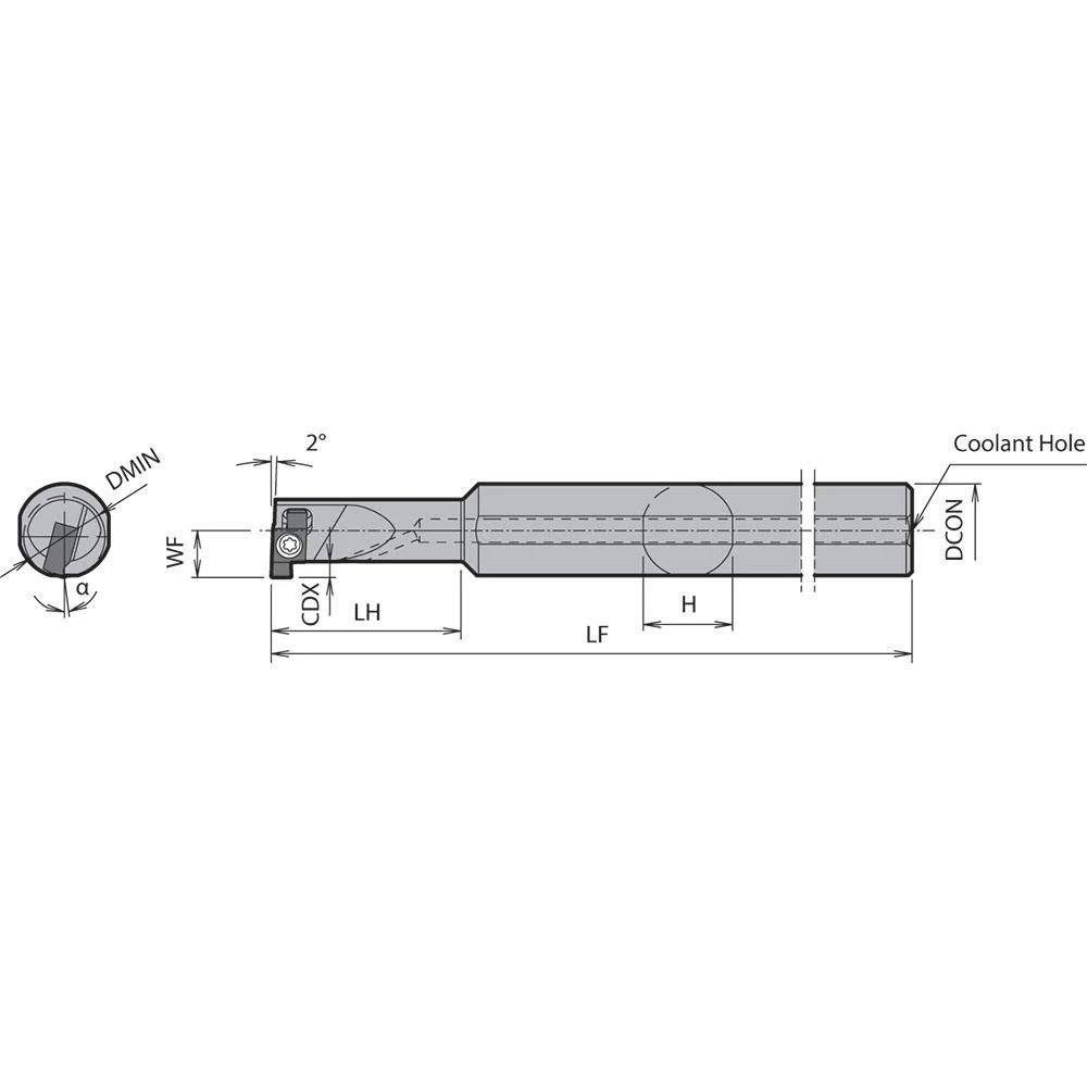 Kyocera SIGER 1616CEH Right-Hand Internal Grooving Holder with a 16.00mm Minimum Bore Diameter for Internal Grooving Applications
