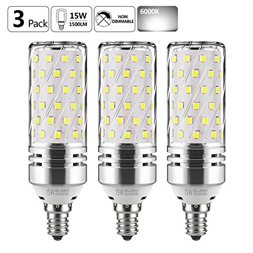 (GEZEE E12 LED Corn Bulbs,15W LED Candelabra Light Bulbs 120 Watt Equivalent, 1500lm, Daylight White 6000K LED Chandelier Bulbs, Decorative Candle Base E12 Non-Dimmable LED Lamp(3-Pack))