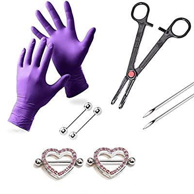 LionGothic Pink Nipple Ring Piercing Kit with 2 Heart Nipple Shields Gloves,Needles,Tool