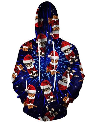 RAISEVERN Unisex Funny Galaxy Christmas Cat