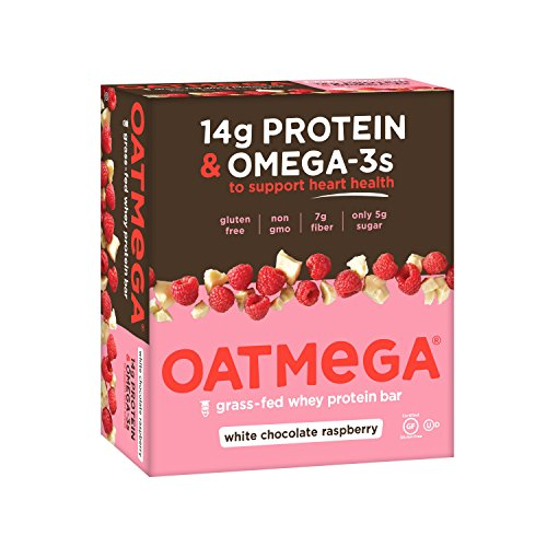 OATMEGA Protein Bar, White Chocolate Raspberry, Energy Bars Made with Omega-3 & Grass-Fed Whey Protein, Healthy Snack, Gluten Free Protein Bars, Whey Protein Bars, Nutrition Bars, 1.8 ounce (12 Count)