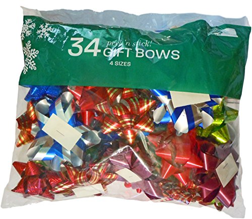 Berwick 34-Count Shiny Pattern Christmas/Holiday Peel n' Stick Gift Wrap Bows, Assorted Sizes & Colors (34 Bows)