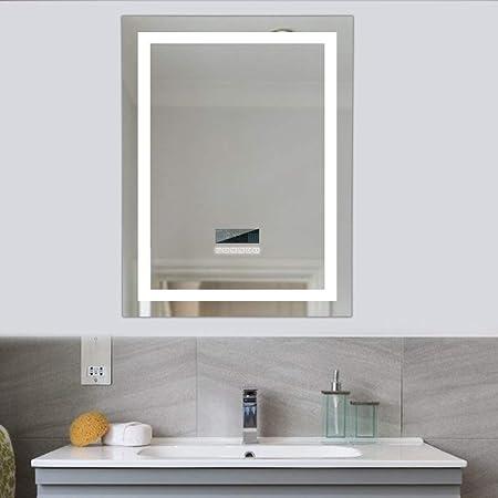 24W SIRHONA Miroir Salle de Bain avec /éclairage LED Miroir Anti-Bu/ée Lumi/ère Illumination 50 x 70 cm Miroir Salle de Bain avec Interrupteur Tactile