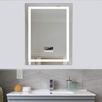 Flyelf 600x800mm Badezimmer Wandspiegel, mit Zwei Bluetooth Lautsprecher,  Beleuchtete Touch Control Dimmbar